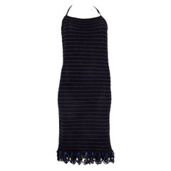 PRADA blue & black cotton EMBELLISHED HALTER CROCHET Cocktail Dress 40