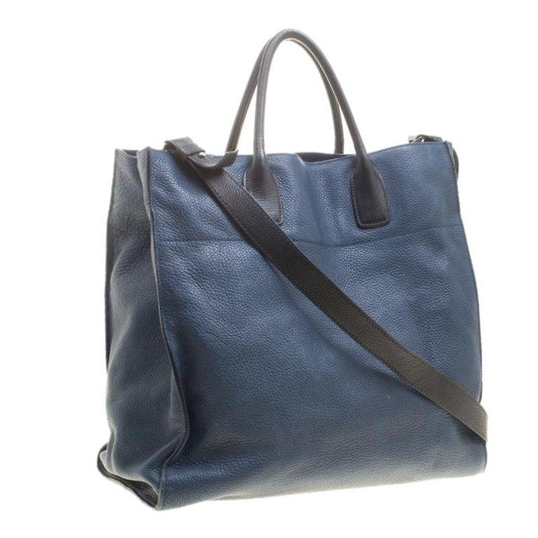 508aa403f8c1e2 Prada Blue/Black Leather Tote For Sale at 1stdibs