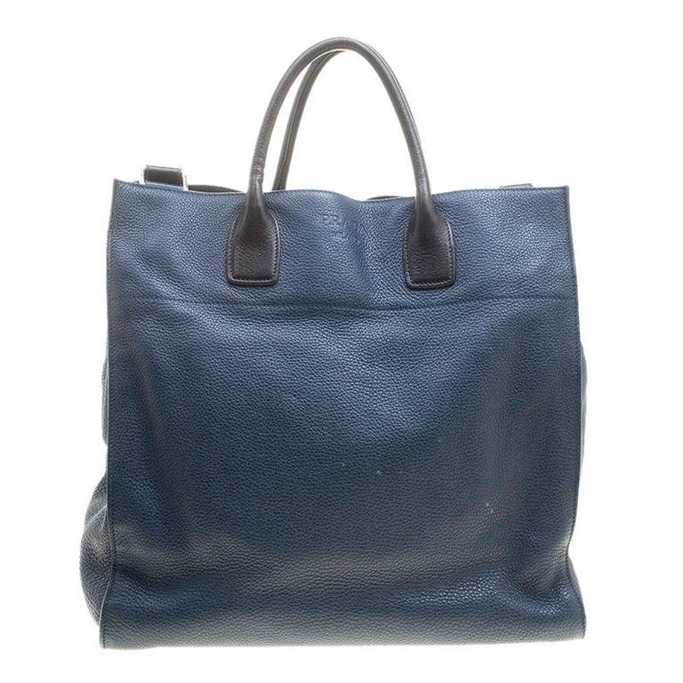 257b2b3314 Prada Blue Black Leather Tote In Good Condition For Sale In Dubai