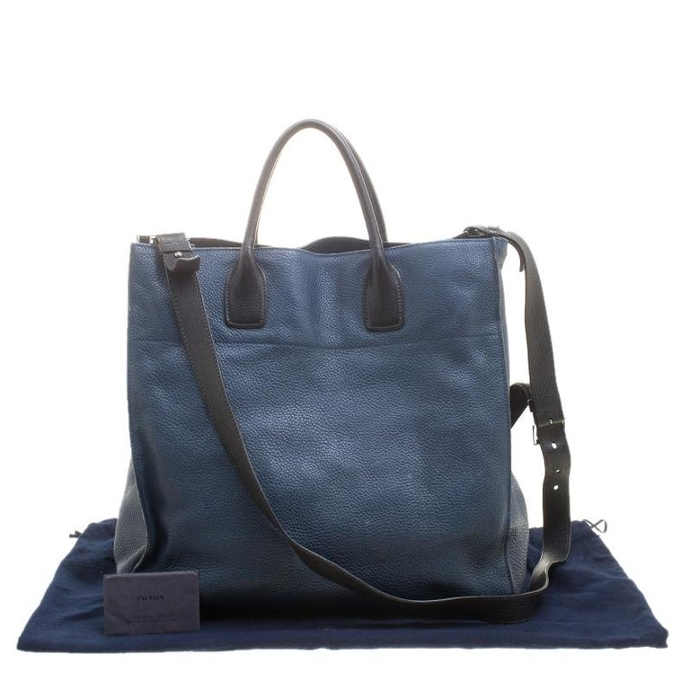b00ddf81a0 Prada Blue Black Leather Tote For Sale at 1stdibs
