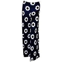 Prada Blue, Black & White Silk Palazzo Slacks