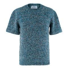 Prada Blue Braided Knit Short Sleeve Jumper 36 XXS