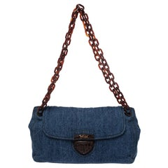 Prada Blue/Brown Denim Flap Chain Shoulder Bag