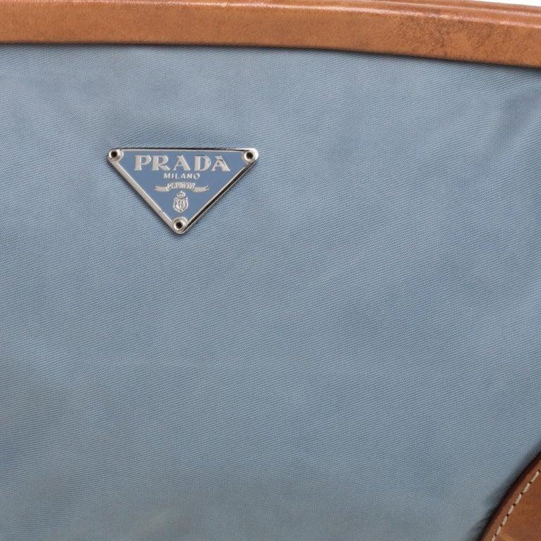 Prada Blue/Brown Nylon and Leather Frame Pochette Bag 5