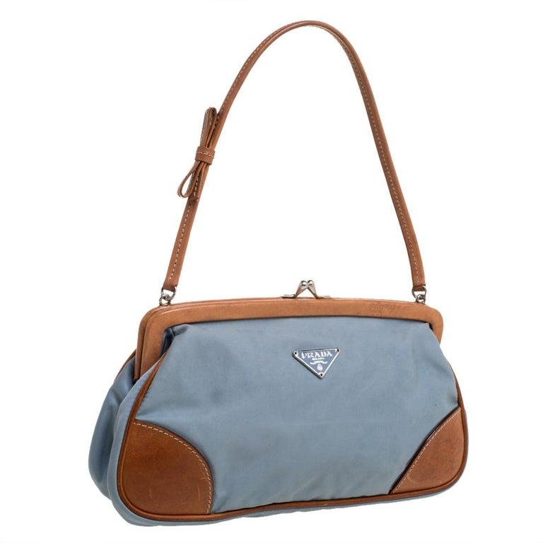 Prada Blue/Brown Nylon and Leather Frame Pochette Bag In Good Condition In Dubai, Al Qouz 2