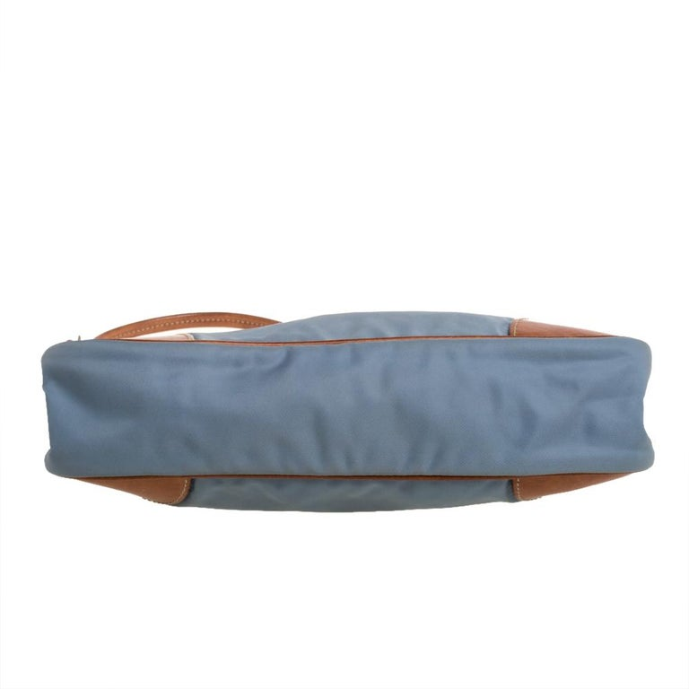 Women's Prada Blue/Brown Nylon and Leather Frame Pochette Bag
