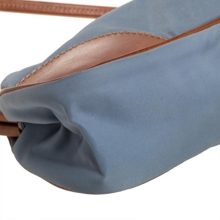Prada Blue/Brown Nylon and Leather Frame Pochette Bag 3