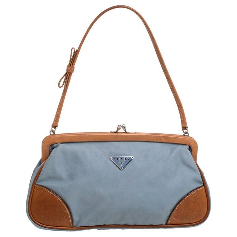 Prada Blue/Brown Nylon and Leather Frame Pochette Bag