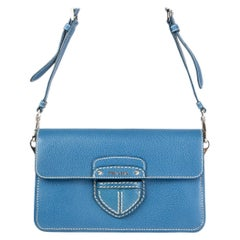 PRADA blue Cinghale leather Crossbody Shoulder Bag