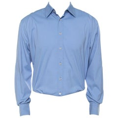 Prada Blue Cotton Blend Full Sleeve Shirt M