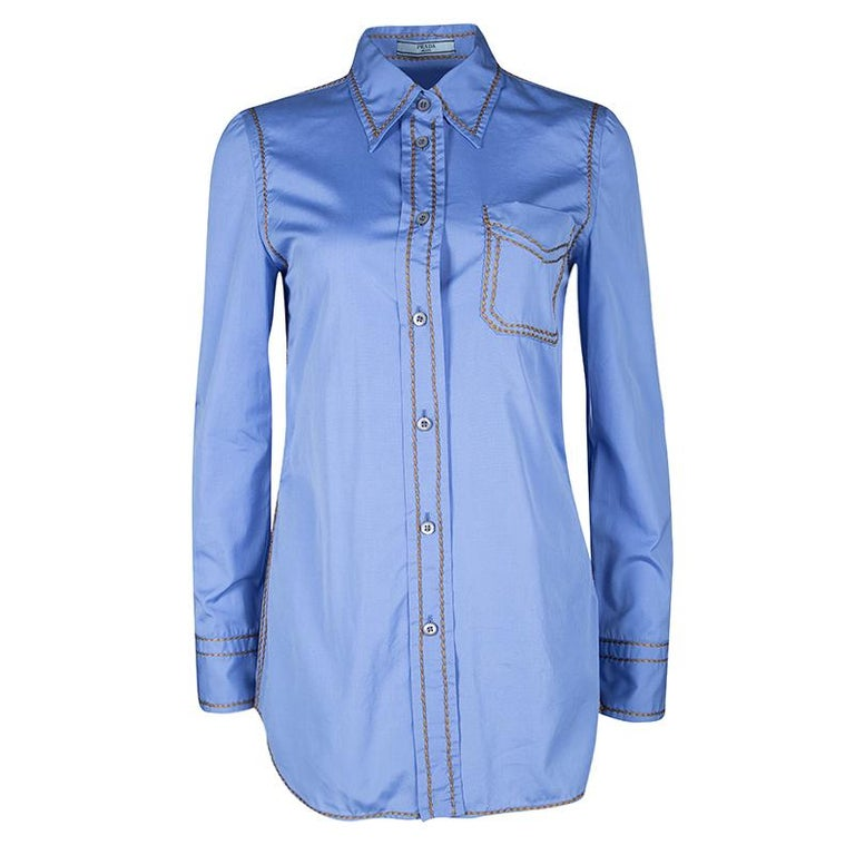 ed229793a7 Prada Blue Cotton Contrast Embroidered Long Sleeve Button Front Shirt S