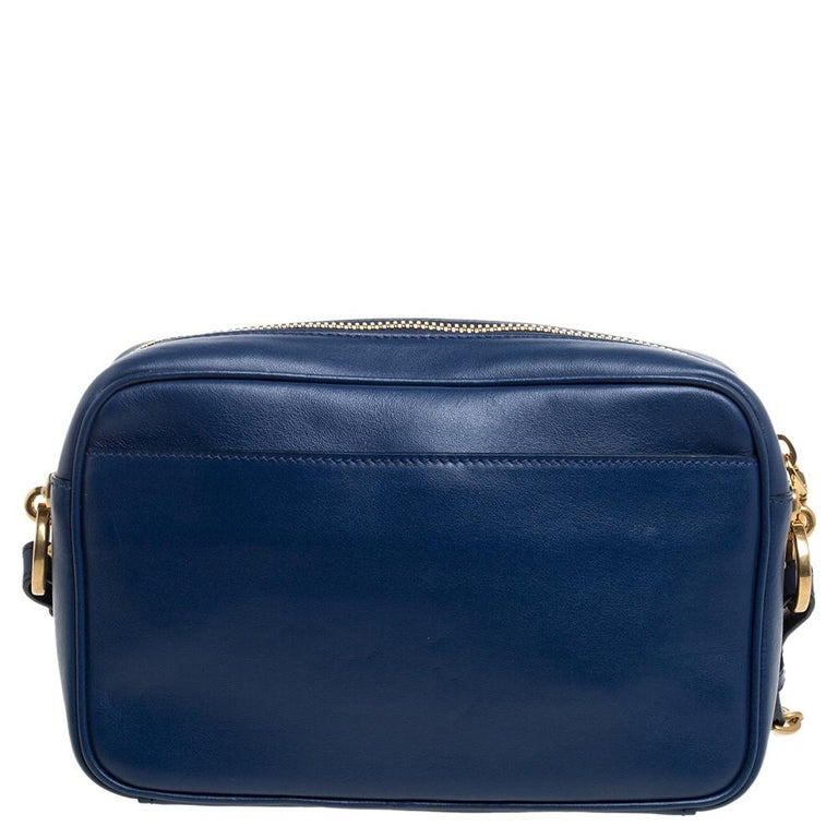 Black Prada Blue Crystal Embellished Leather Camera Shoulder Bag For Sale