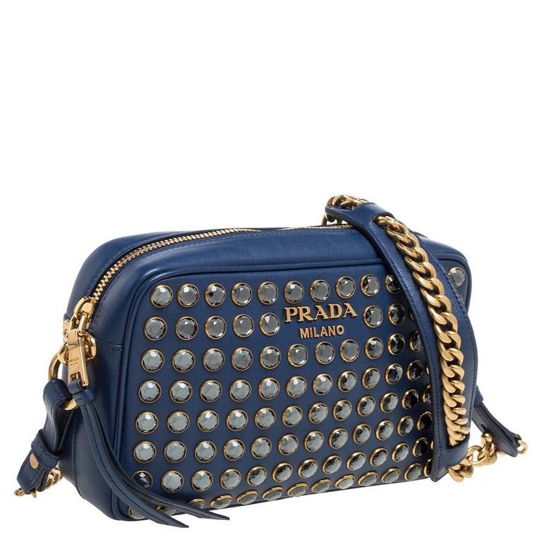 Prada Blue Crystal Embellished Leather Camera Shoulder Bag In Excellent Condition For Sale In Dubai, Al Qouz 2