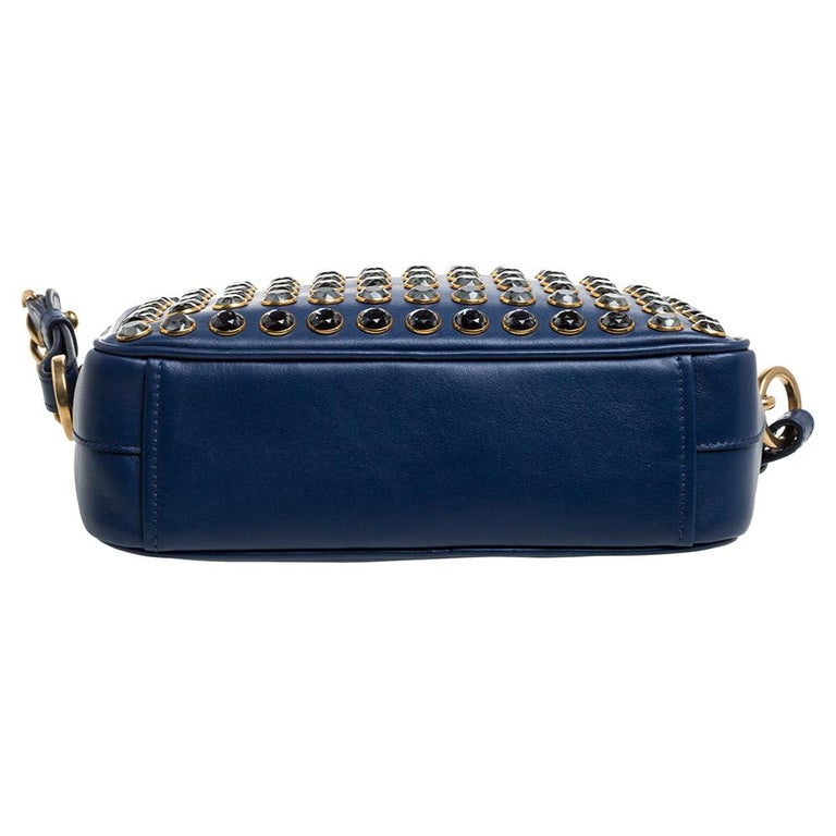 Women's Prada Blue Crystal Embellished Leather Camera Shoulder Bag For Sale
