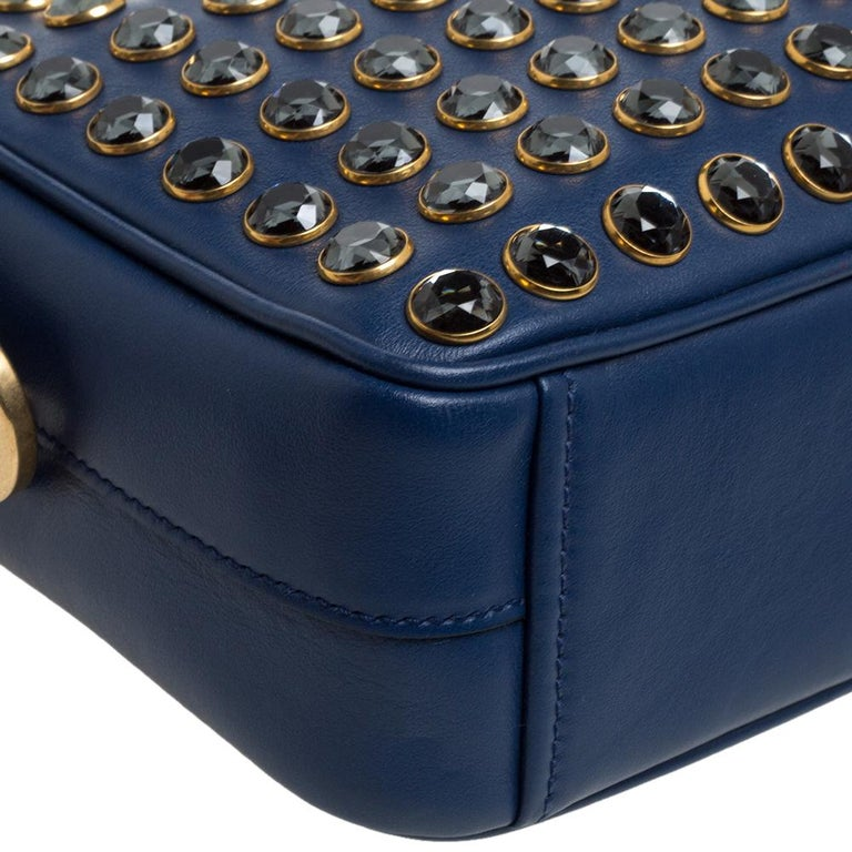 Prada Blue Crystal Embellished Leather Camera Shoulder Bag For Sale 2