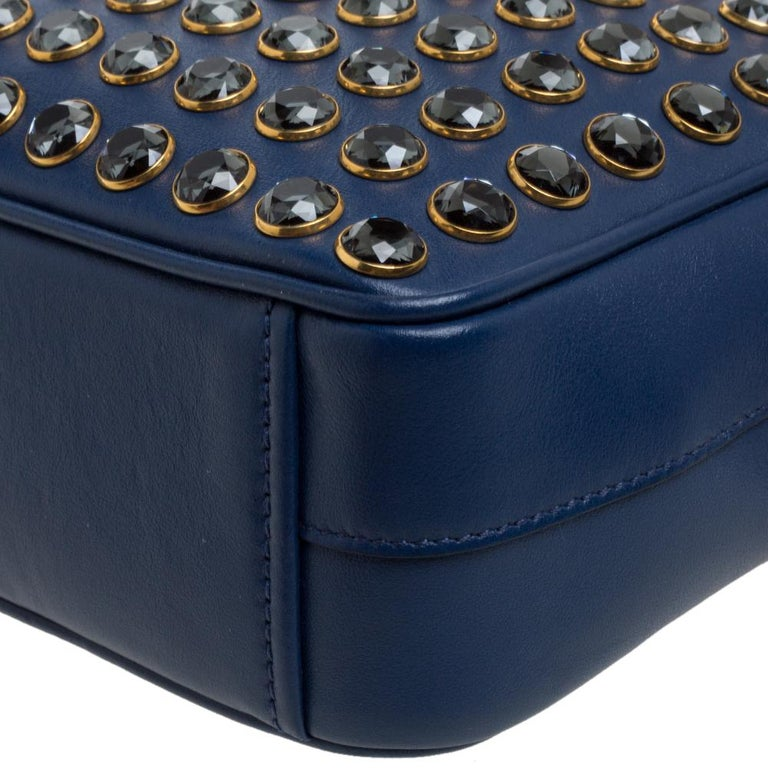 Prada Blue Crystal Embellished Leather Camera Shoulder Bag For Sale 3