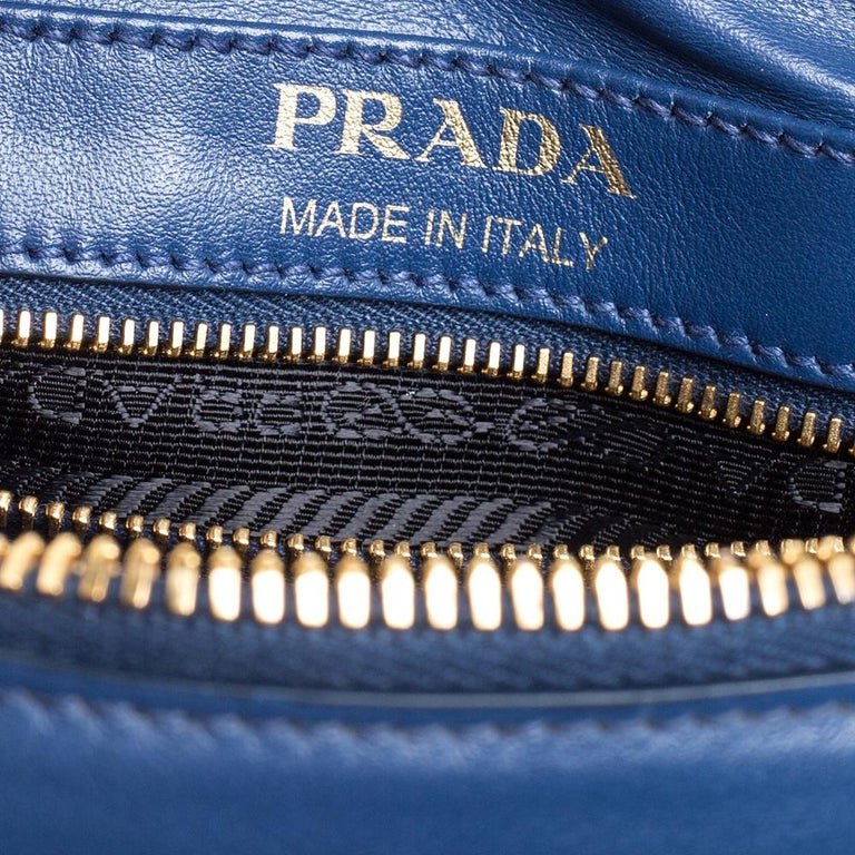 Prada Blue Crystal Embellished Leather Camera Shoulder Bag For Sale 4