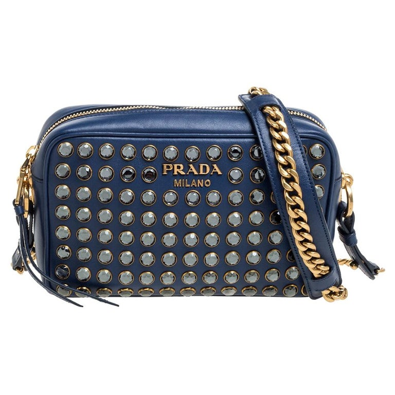 Prada Blue Crystal Embellished Leather Camera Shoulder Bag For Sale