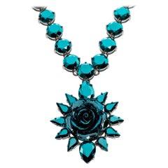 Prada Blue Crystal Silver Tone Rose Pendant Statement Necklace