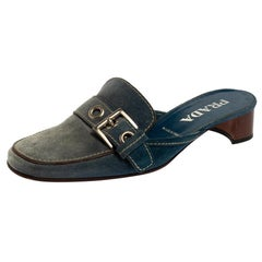 Prada Blue Denim Buckle Mule Sandals Size 38.5