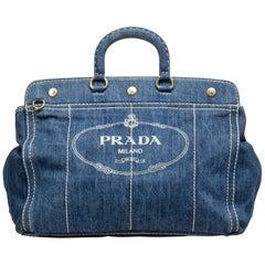 Prada Blue Denim Fabric Canapa Satchel Italy