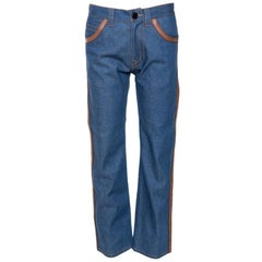 Prada Blue Denim Leather Trim Straight Leg Jeans S