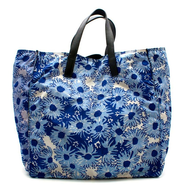 Prada Blue Floral Nylon Tote In Excellent Condition For Sale In London, GB