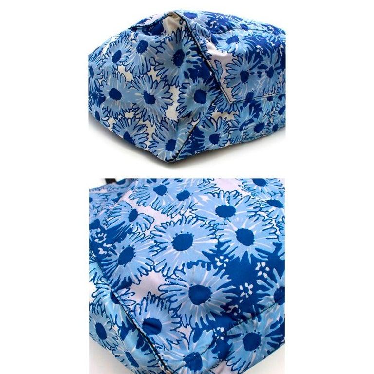 Prada Blue Floral Nylon Tote For Sale 1