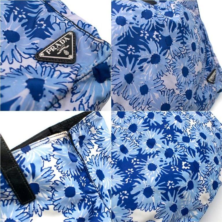 Prada Blue Floral Nylon Tote For Sale 2