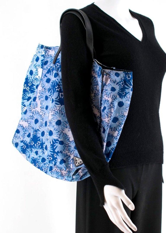 Prada Blue Floral Nylon Tote For Sale 4