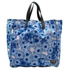 Prada Blue Floral Nylon Tote