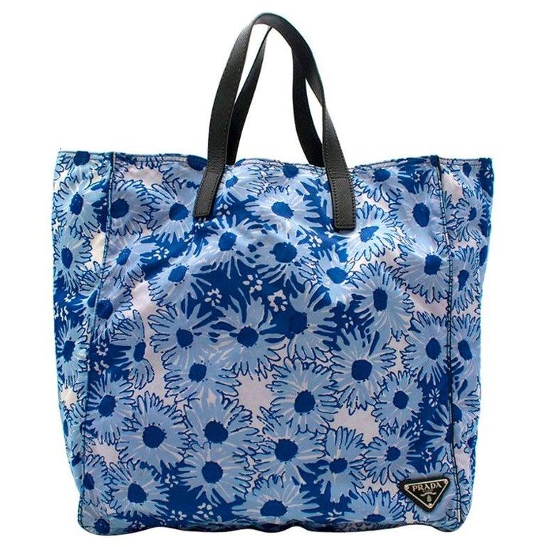 Prada Blue Floral Nylon Tote For Sale