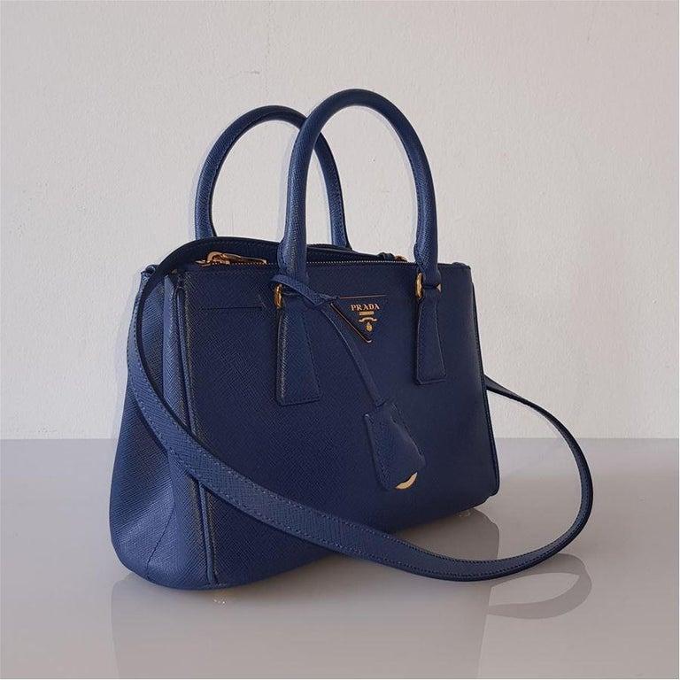 Prada Blue Galleria MIni Bag In New Condition For Sale In Gazzaniga (BG), IT