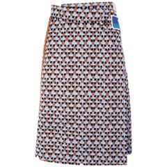 PRADA blue GEOMETRIC polyester WRAP Skirt 40 S