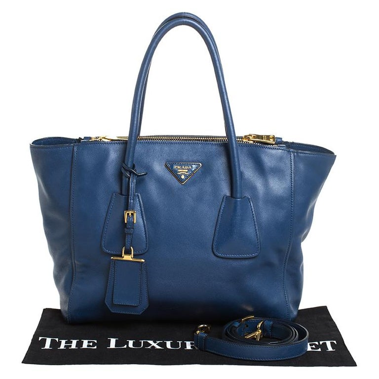 Prada Blue Glace Leather Twin Pocket Double Handle Tote For Sale 7