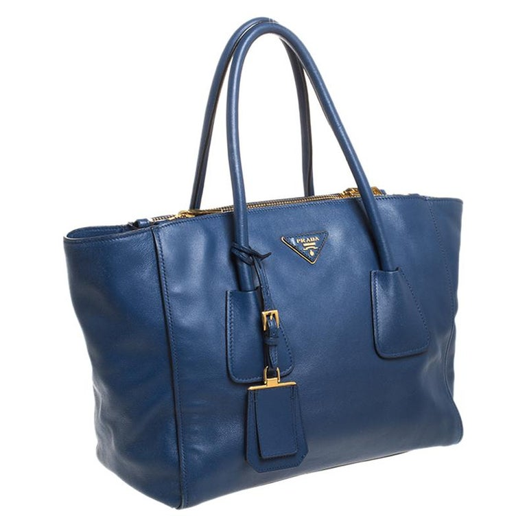 Women's Prada Blue Glace Leather Twin Pocket Double Handle Tote For Sale
