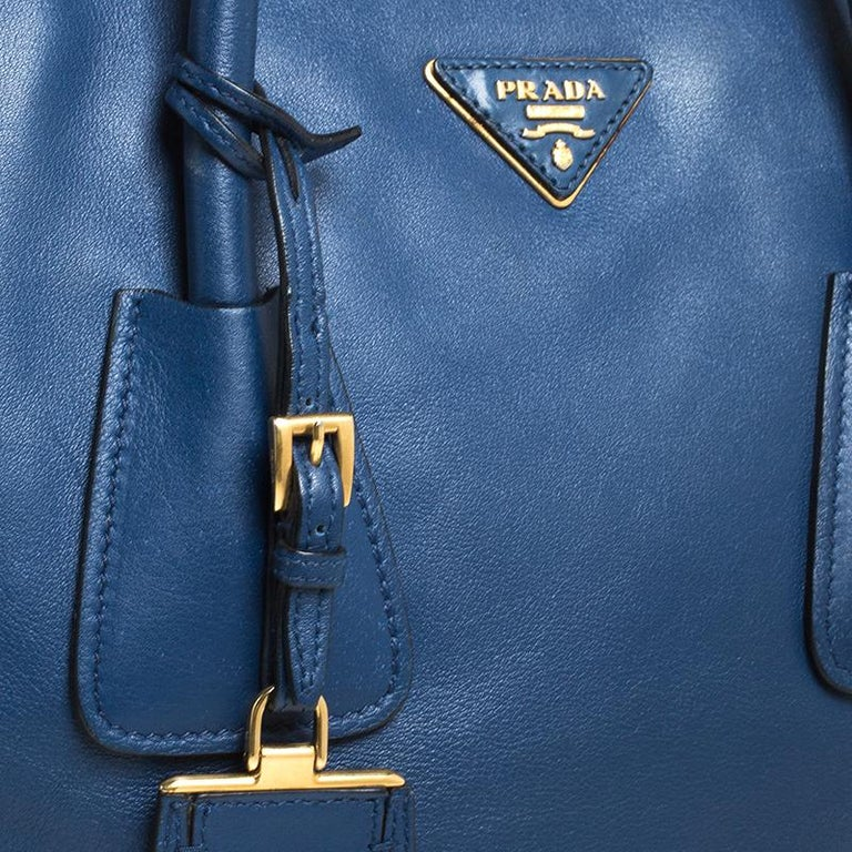 Prada Blue Glace Leather Twin Pocket Double Handle Tote For Sale 2