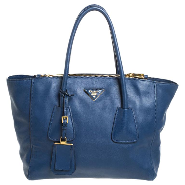 Prada Blue Glace Leather Twin Pocket Double Handle Tote