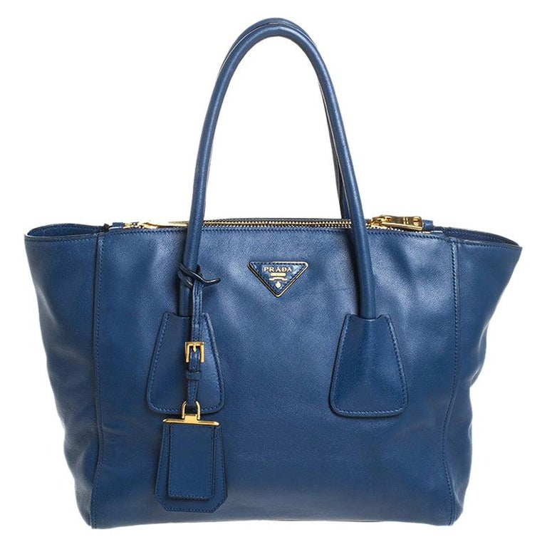Prada Blue Glace Leather Twin Pocket Double Handle Tote For Sale
