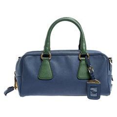 Prada Blue/Green Saffiano Lux Leather Bowler Bag
