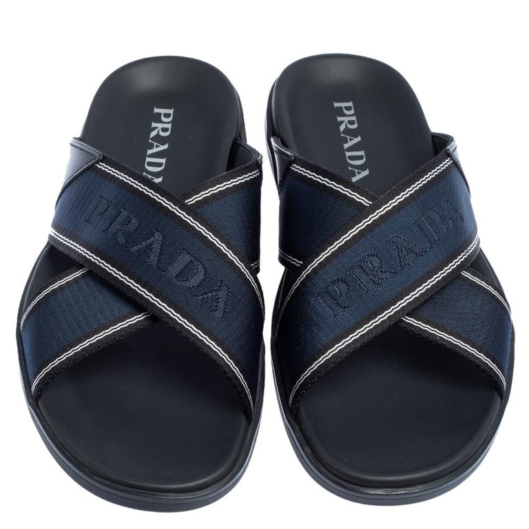 Black Prada Blue Leather and Nylon Logo Tape Crisscross Slides Size 43