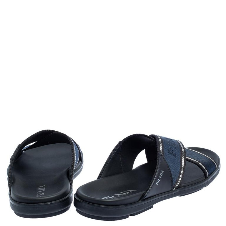 Prada Blue Leather and Nylon Logo Tape Crisscross Slides Size 43 In Excellent Condition In Dubai, Al Qouz 2