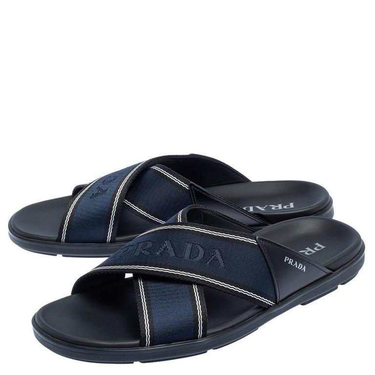 Men's Prada Blue Leather and Nylon Logo Tape Crisscross Slides Size 43