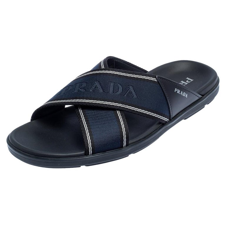Prada Blue Leather and Nylon Logo Tape Crisscross Slides Size 43