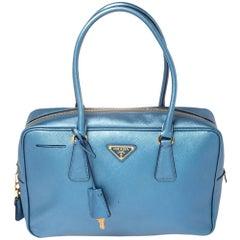 Prada Blue Leather Bauletto Satchel