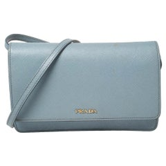 Prada Blue Leather Flap Crossbody Bag