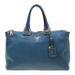Prada Blue Leather Medium Vitello Daino Convertible Boston Bag