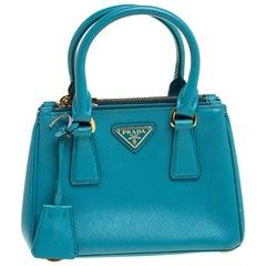 Prada Blue Leather Mini Double Zip Crossbody Bag