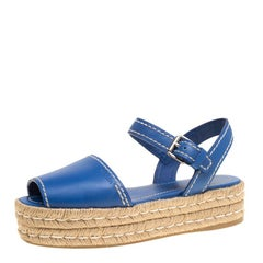 898b682de9f Prada Blue Leather Peep Toe Ankle Strap Espadrille Platform Sandals Size 39
