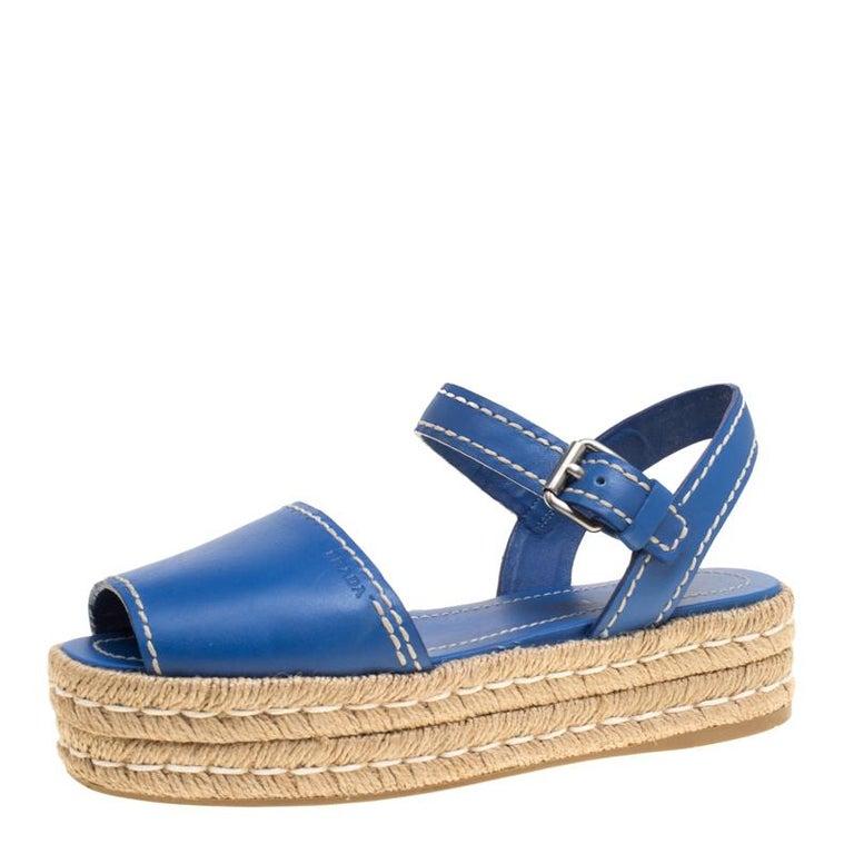 50f146762dd Prada Blue Leather Peep Toe Ankle Strap Espadrille Platform Sandals Size 39  For Sale at 1stdibs